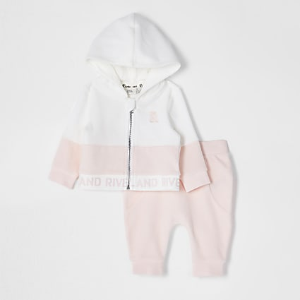 Baby pink zip through velour outfit