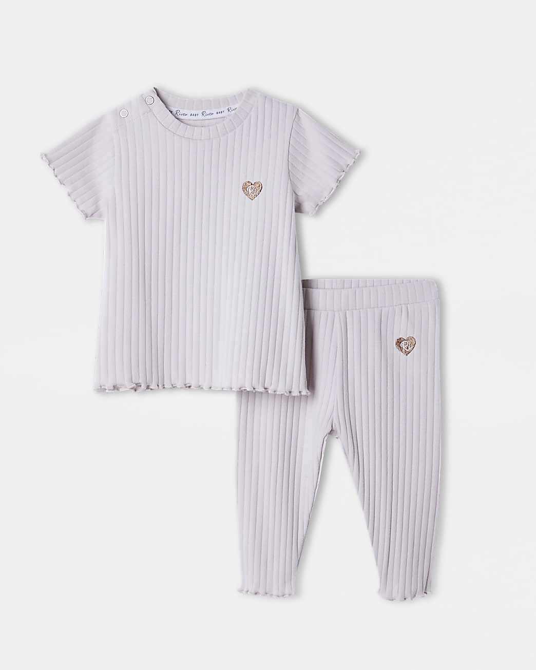 Baby purple ribbed t-shirt & bottoms outfit
