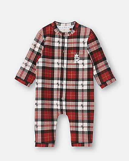 Baby red check print bodysuit