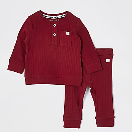 Baby red grandad collar top outfit