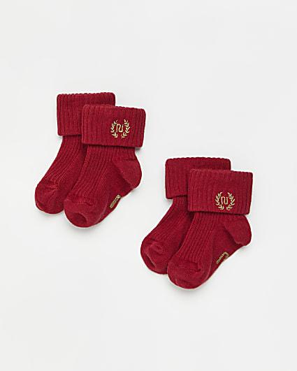 Baby red RI rib socks 2 pack