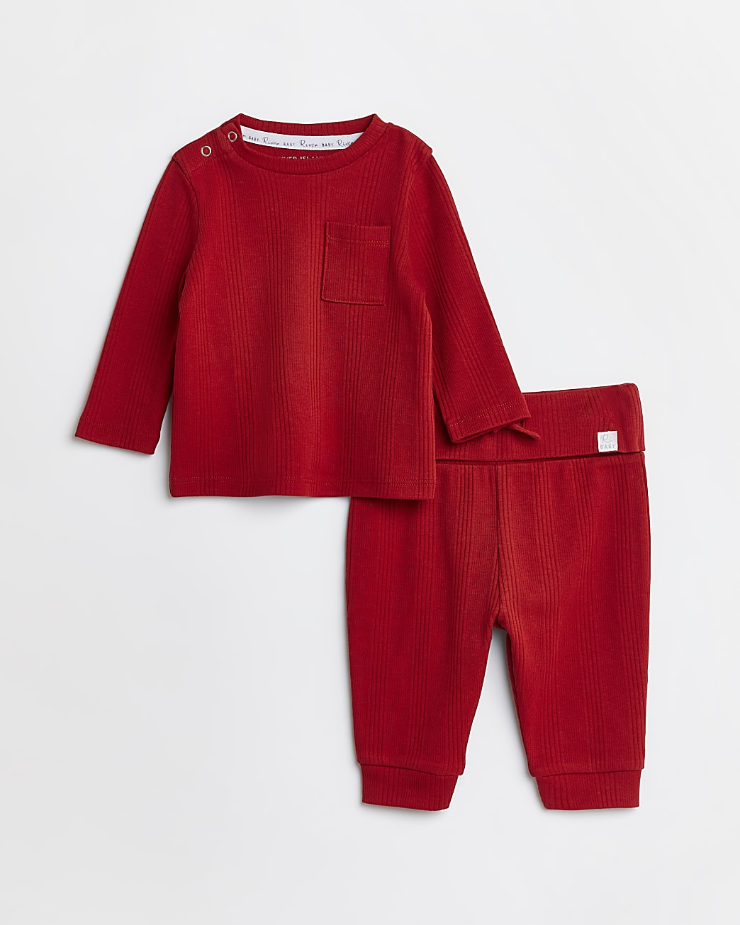 Baby red rib top and joggers outfit