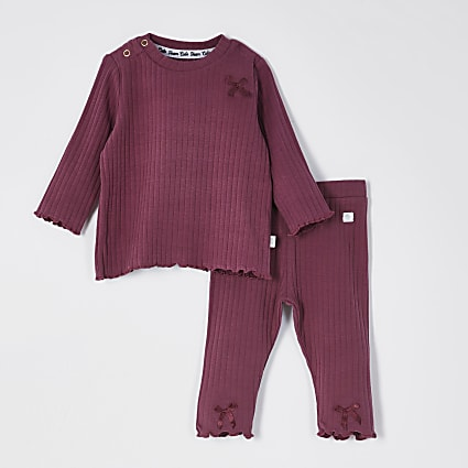 Baby red ribbed bow leggings outfit