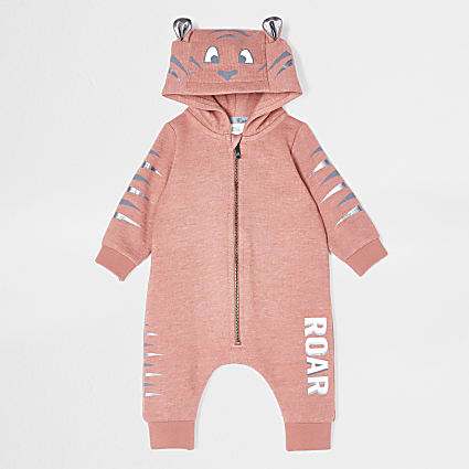 Baby rust tiger hooded all in one