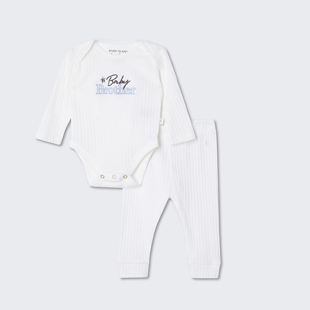 Baby white 'Baby brother' outfit