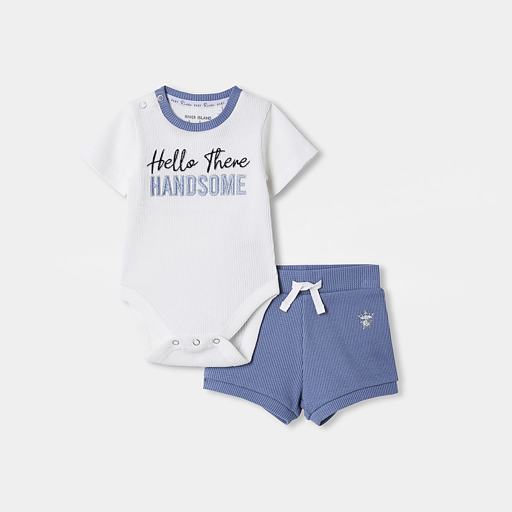 Baby white baby grow and shorts outfit