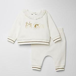 Witteoutfit met sweater met 'Baby Unicorn'-print voor baby's