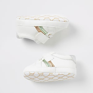 Wit metallic 'Best life' sneakers voor baby's