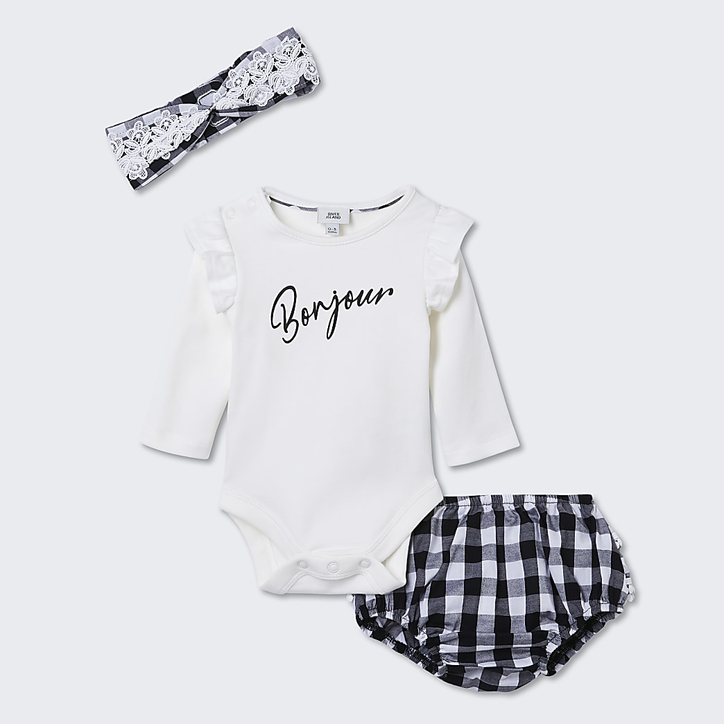 Baby white 'Bonjour' baby grow outfit