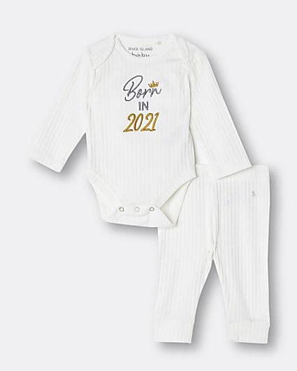 Baby white 'Born In 2021' babygrow set