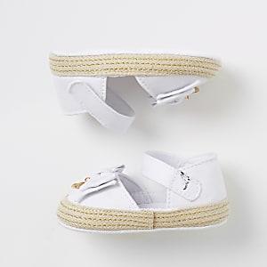 Witte espadrillesandalen met strik voor baby's