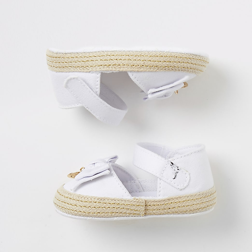 Baby white bow espadrille sandals