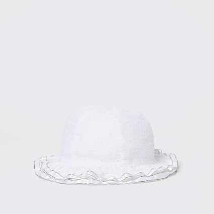 Baby white broderie frill hat