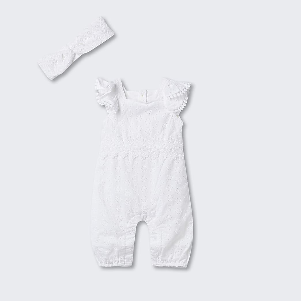 Baby white broderie frill romper
