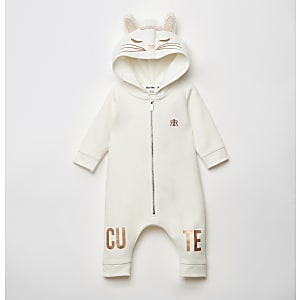 Baby white cat embroidered all in one