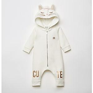 Witte alles-in-een met katten borduursel voor baby's