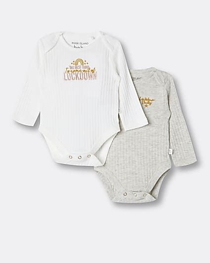 Baby white chest embroidered babygrows 2 pack