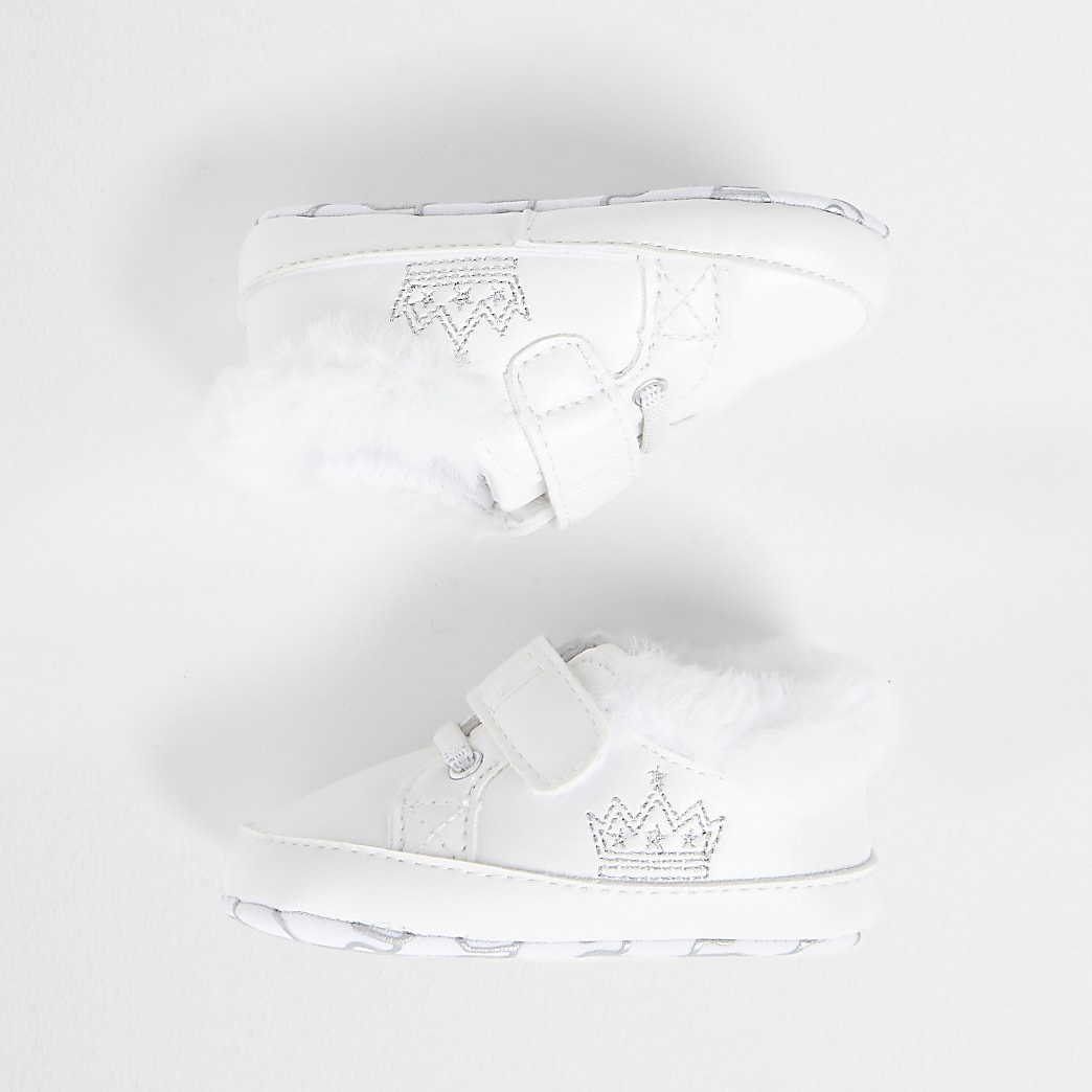 Baby white crown strap trainers