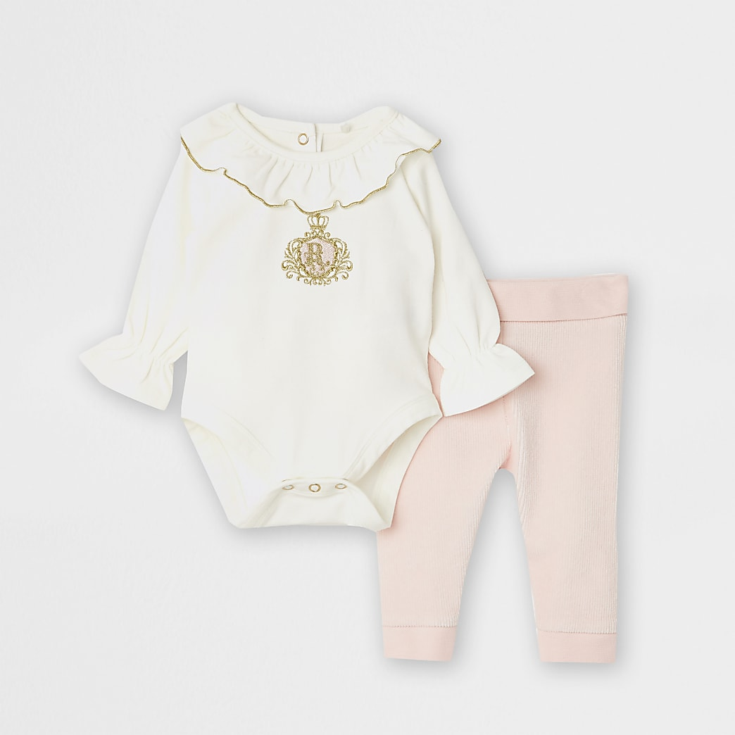 Baby white frill velour babygrow set