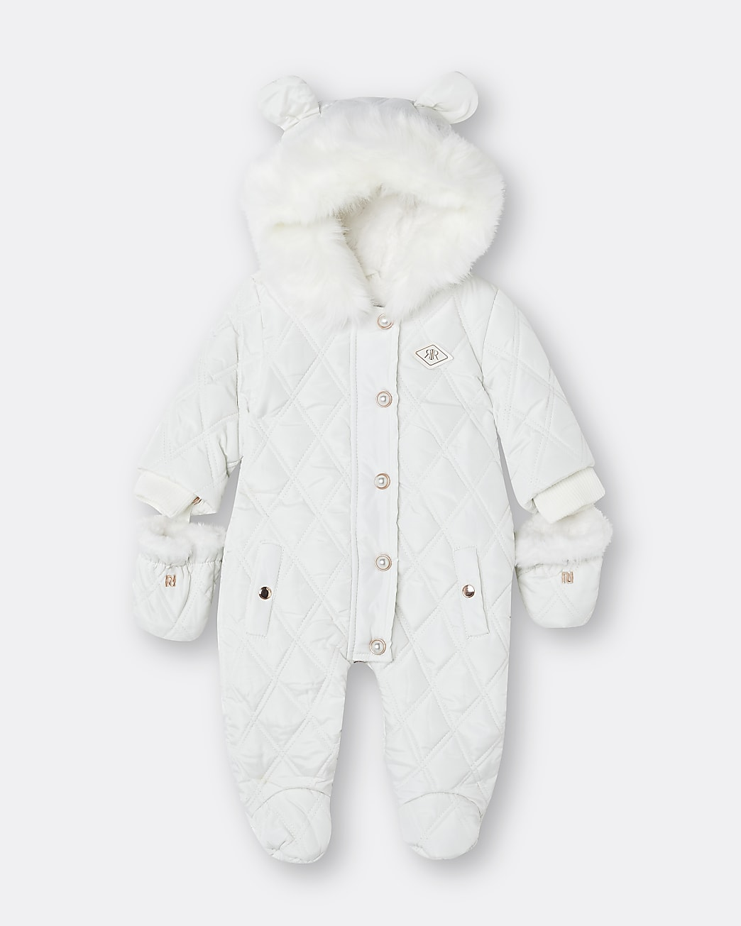 Baby white hooded quilted snowsuit