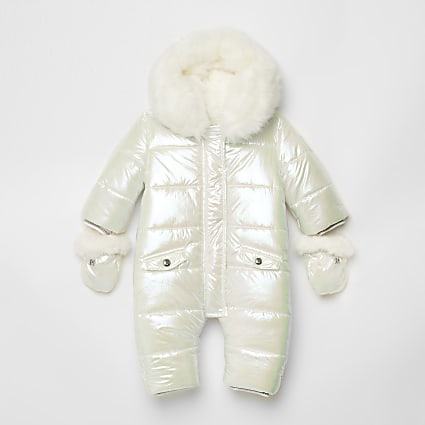 Baby white iridescent snowsuit