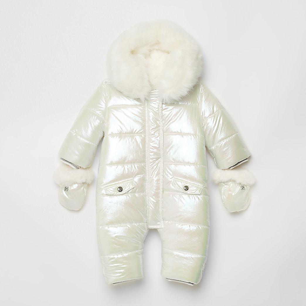 Baby white iridescent snowsuit