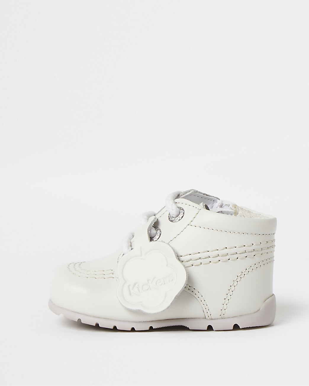 Baby white Kickers leather lace up boots