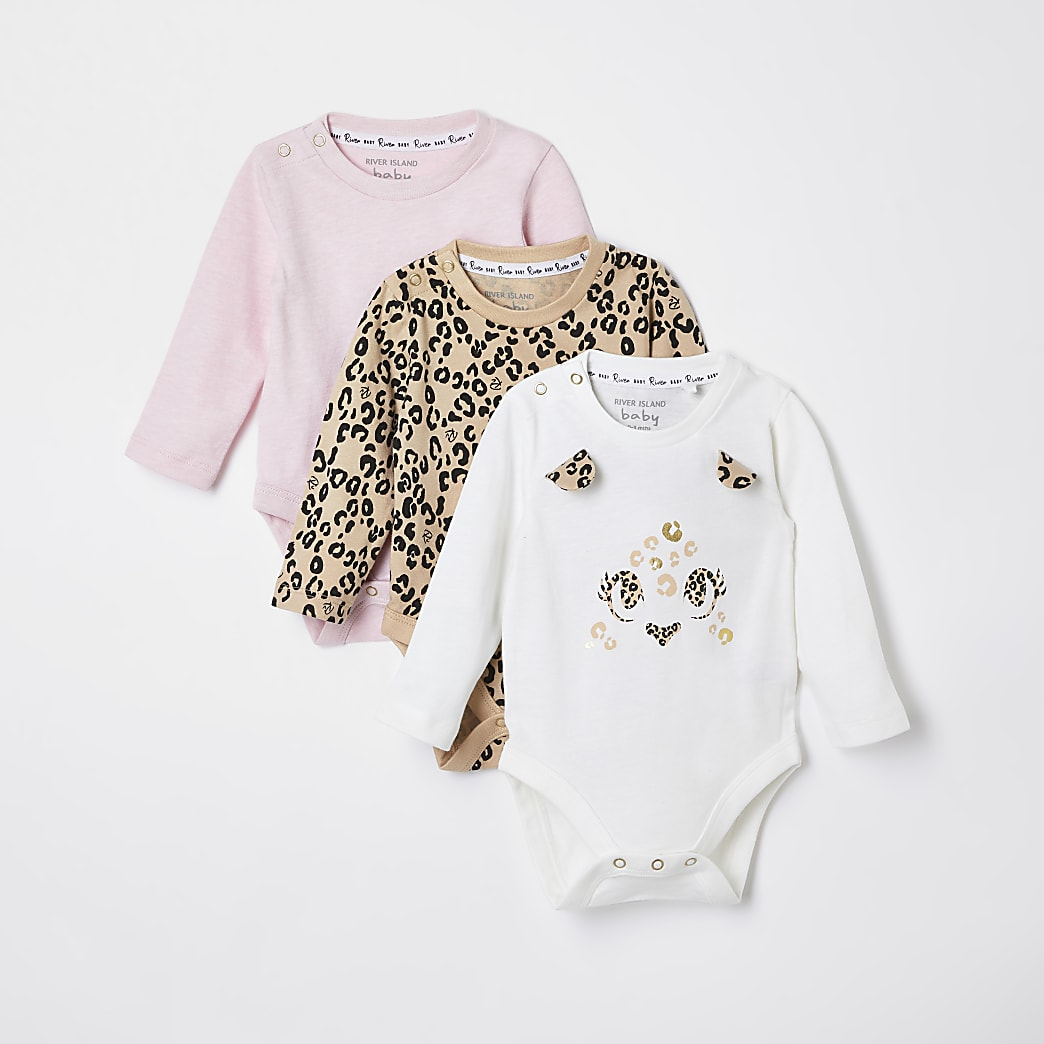 Baby white leopard bodysuits 3 pack