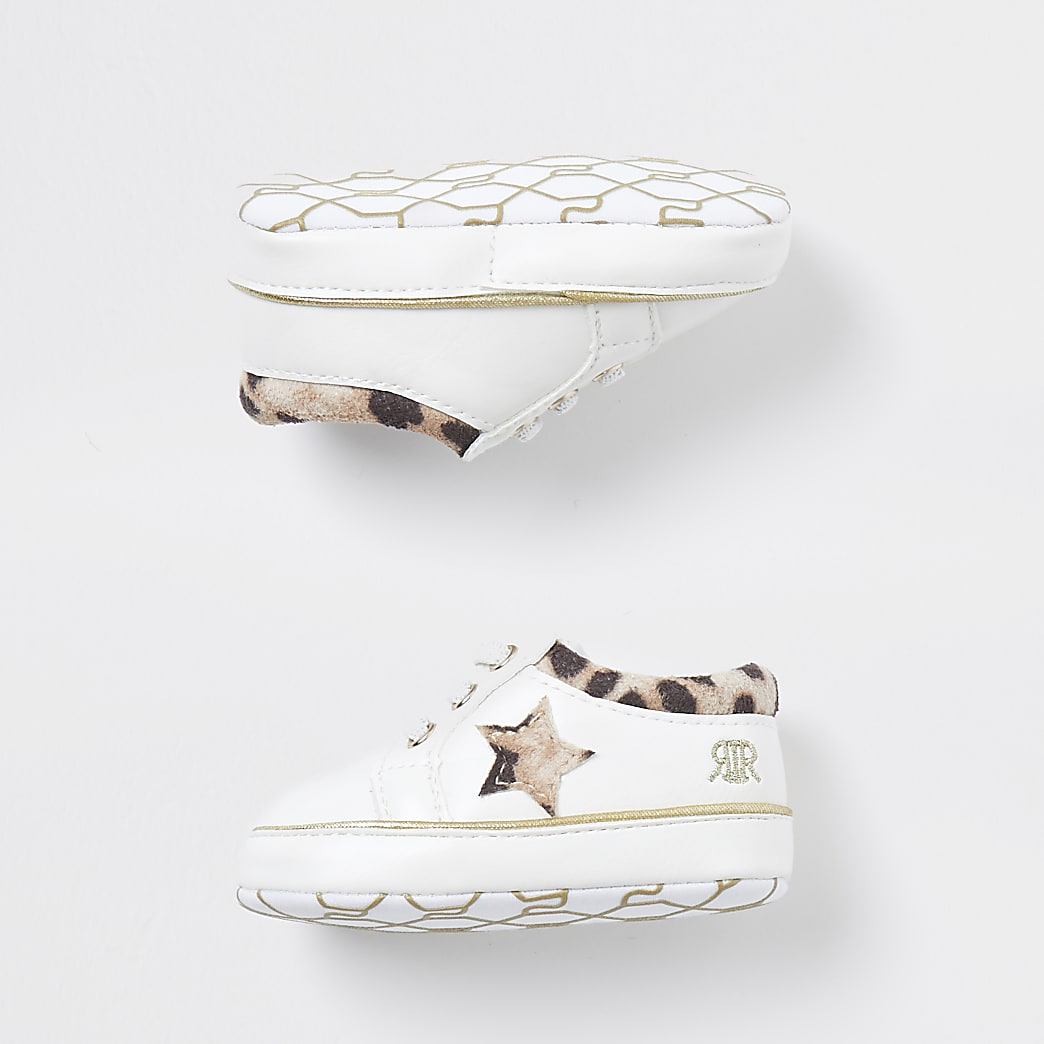 Baby white leopard lace up trainers