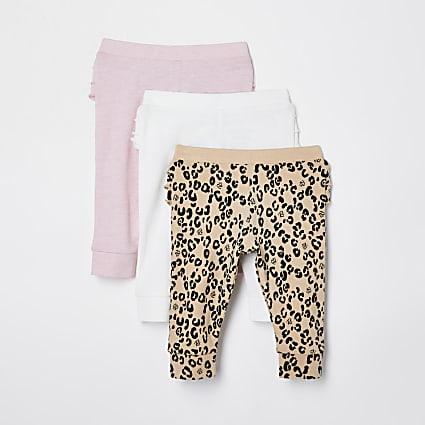 Baby white leopard print legging 3 pack