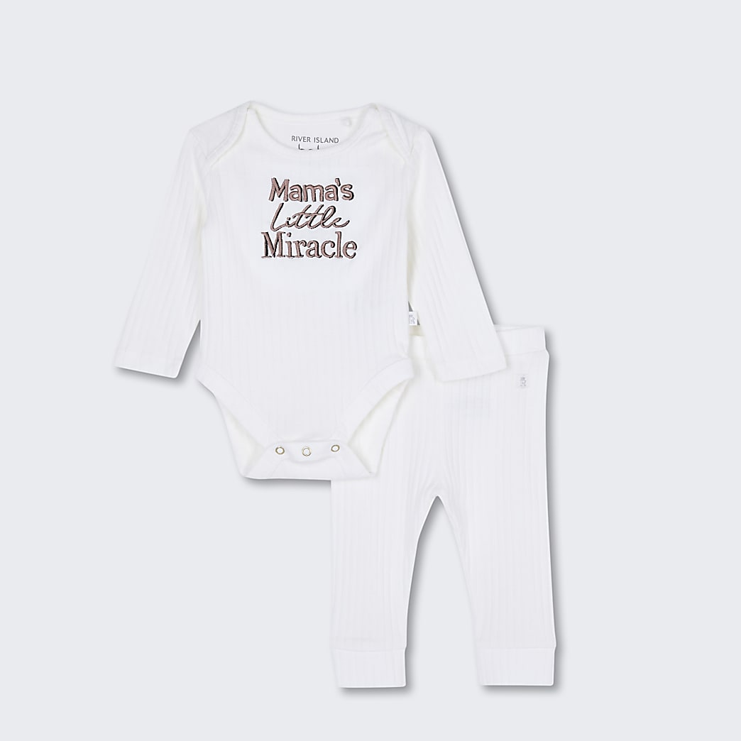 Baby white 'Mama's Little Miracle' outfit