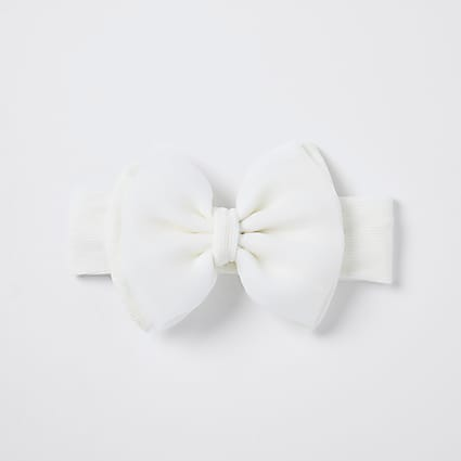 Baby white organza bow headband