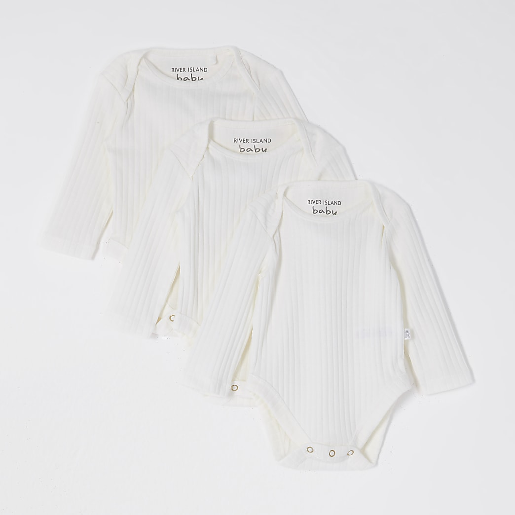 Baby white plain bodysuits 3 pack