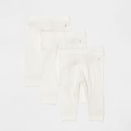 Baby white plain leggings 3 pack