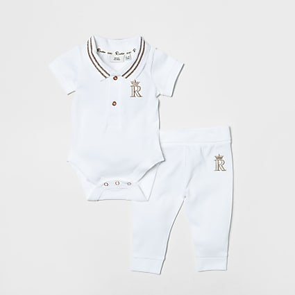 Baby white polo bodysuit outfit