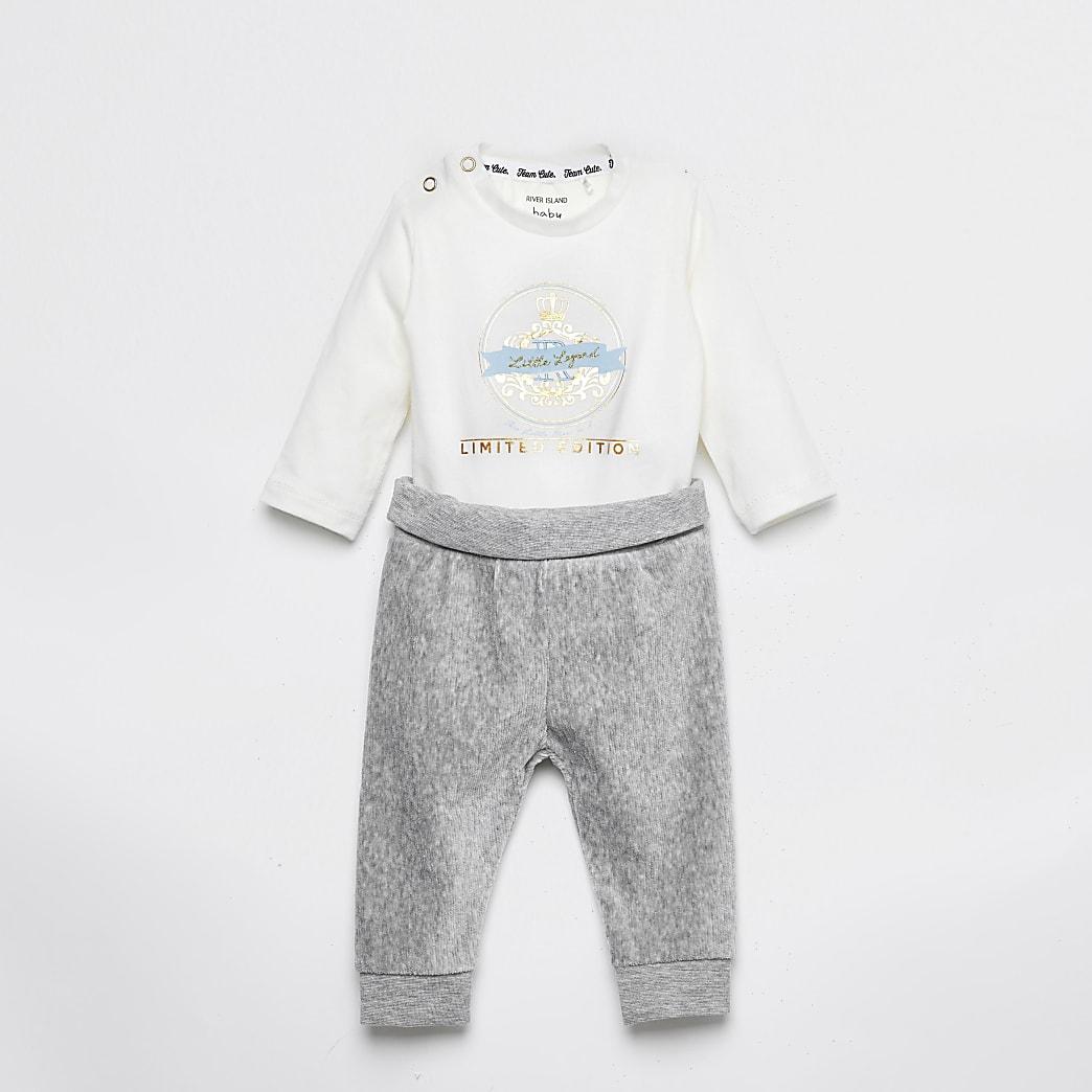 Baby white printed bodysuit and legging set