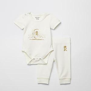 Witte bodysuit en legging-set met print voor baby's