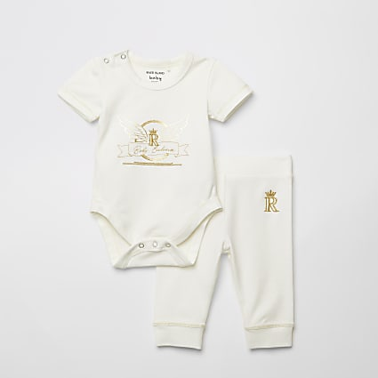 Baby white printed bodysuit and legging set