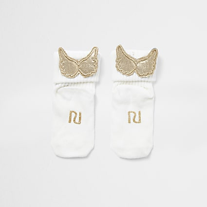 Baby white RI gold wing socks