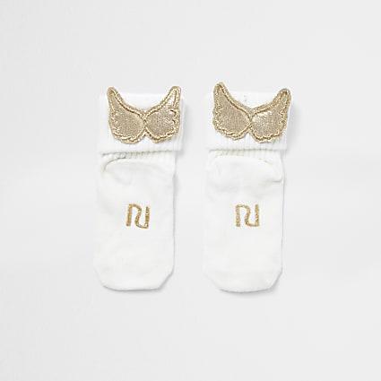 Baby white RI gold wing socks