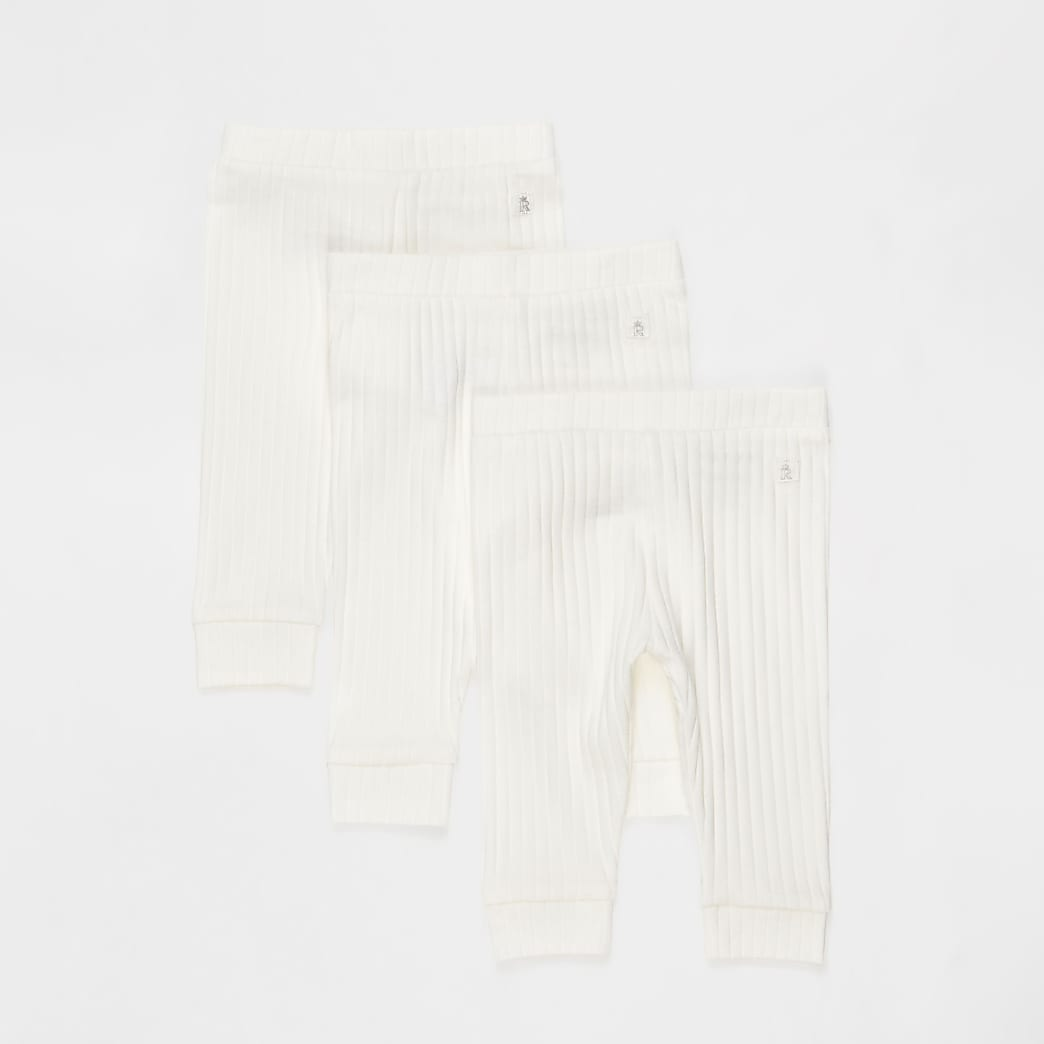 Baby white ribbed leggings 3 pack
