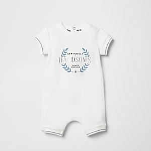 Wit rompertje met 'Seriously handsome'-tekst voor baby's