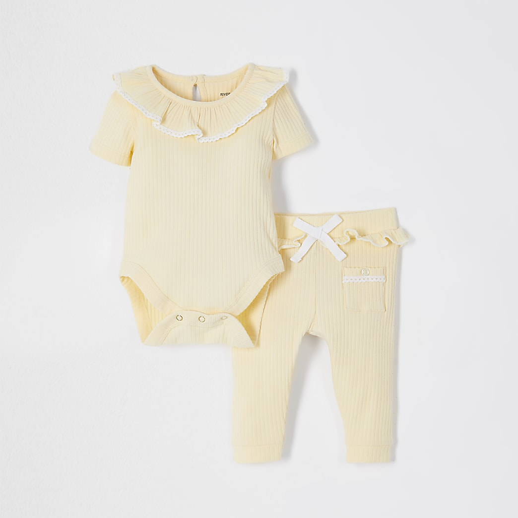 Baby yellow frill ribbed bodysuit outfit