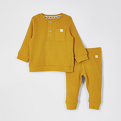 Baby yellow grandad collar top outfit