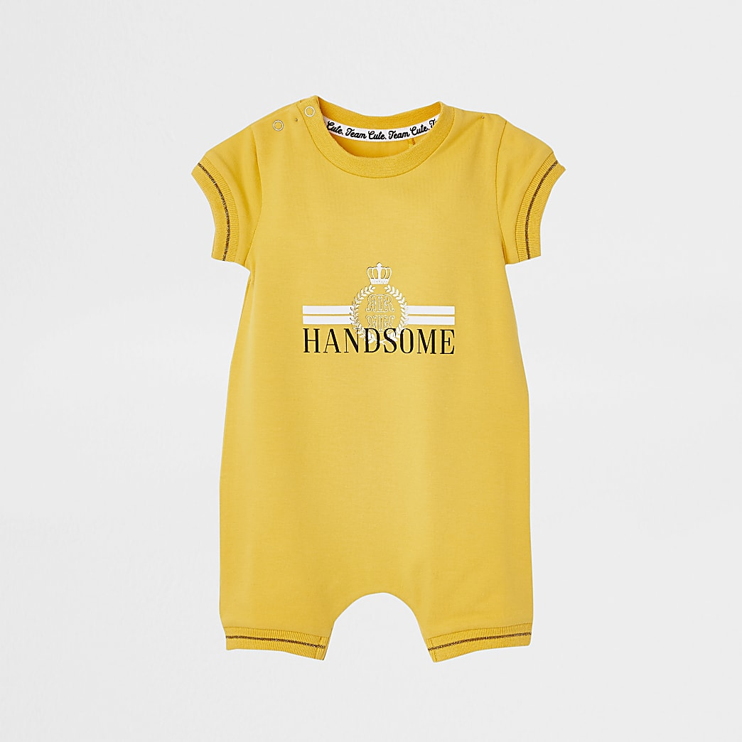 Baby yellow 'Handsome' baby grow