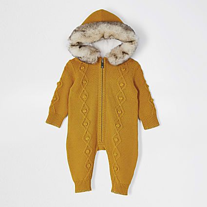 Baby yellow knit all In one