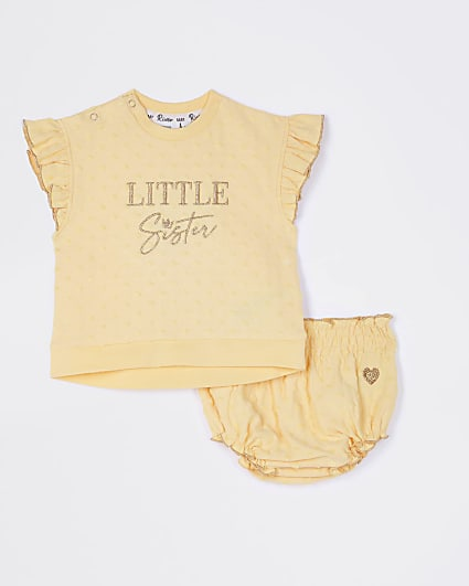 Baby yellow 'Little Sister' bloomer outfit