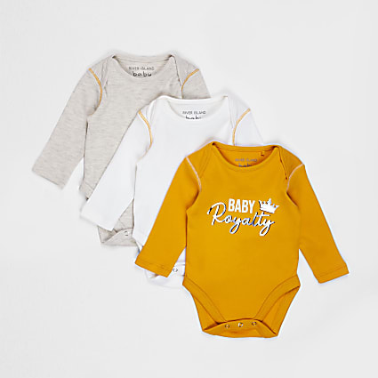 Baby yellow long sleeve bodysuit 3 pack