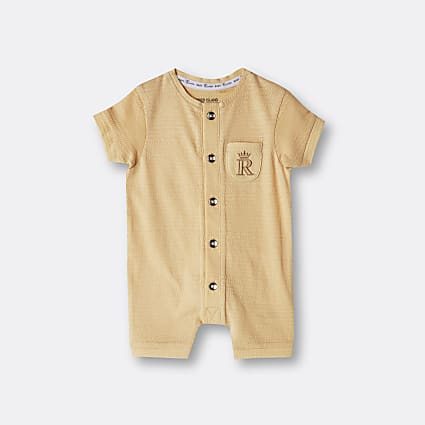 Baby yellow organic button front romper