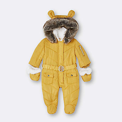 Baby yellow RI faux fur hooded snowsuit